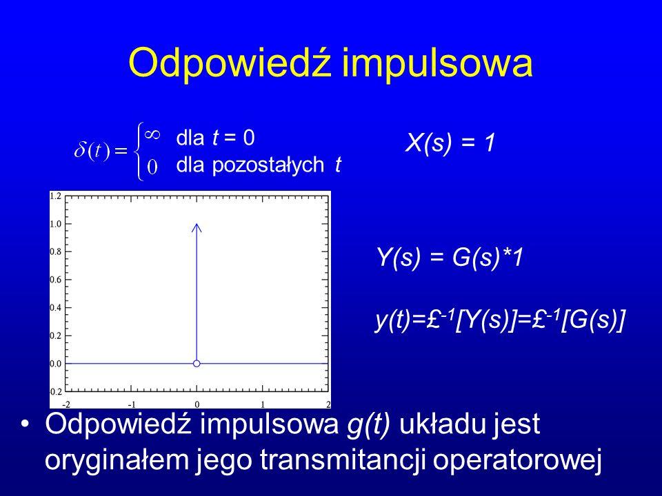 Odpowiedź impulsowa dla t = 0. dla pozostałych t. X(s) = 1. Y(s) = G(s)*1. y(t)=£-1[Y(s)]=£-1[G(s)]